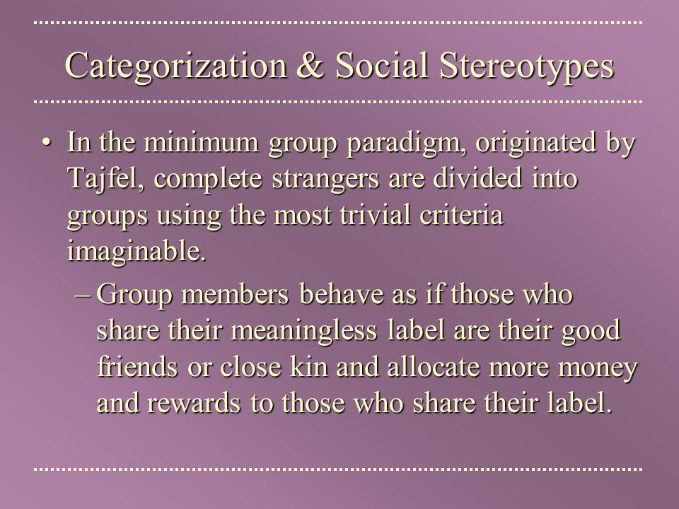 Categorization & Social Stereotypes