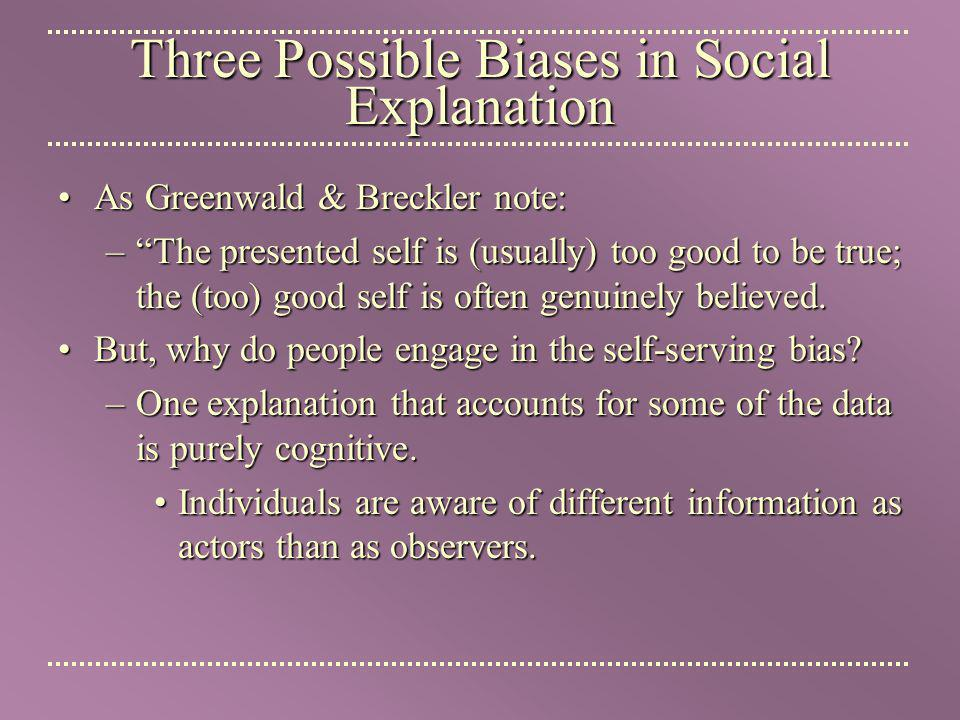 Three Possible Biases in Social Explanation