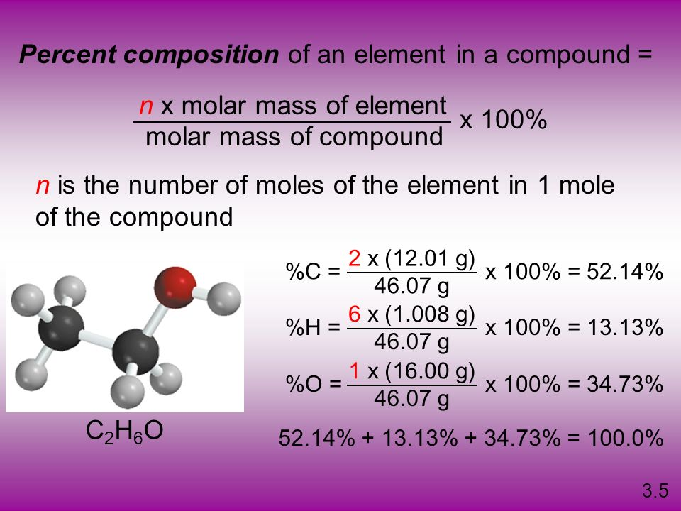 Percent composition of an element in a compound =