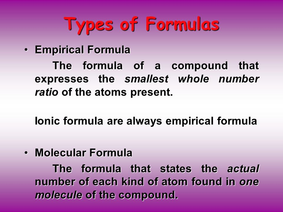 Types of Formulas Empirical Formula