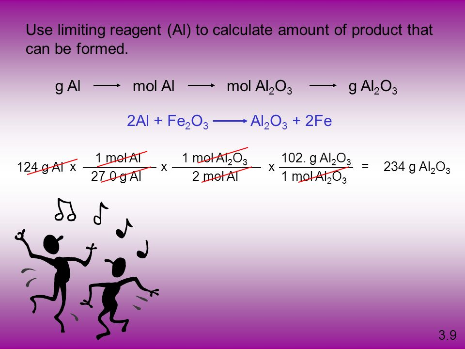 Use limiting reagent (Al) to calculate amount of product that
