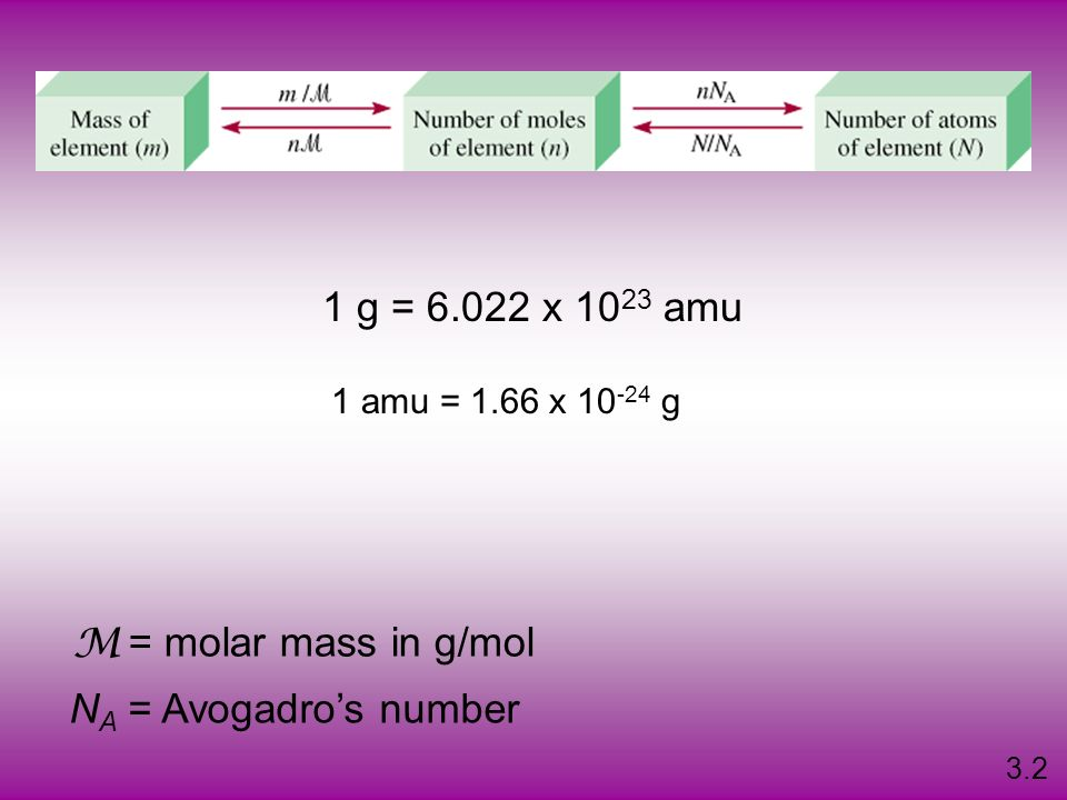 1 g = 6.022 x 1023 amu = molar mass in g/mol M NA = Avogadro's number