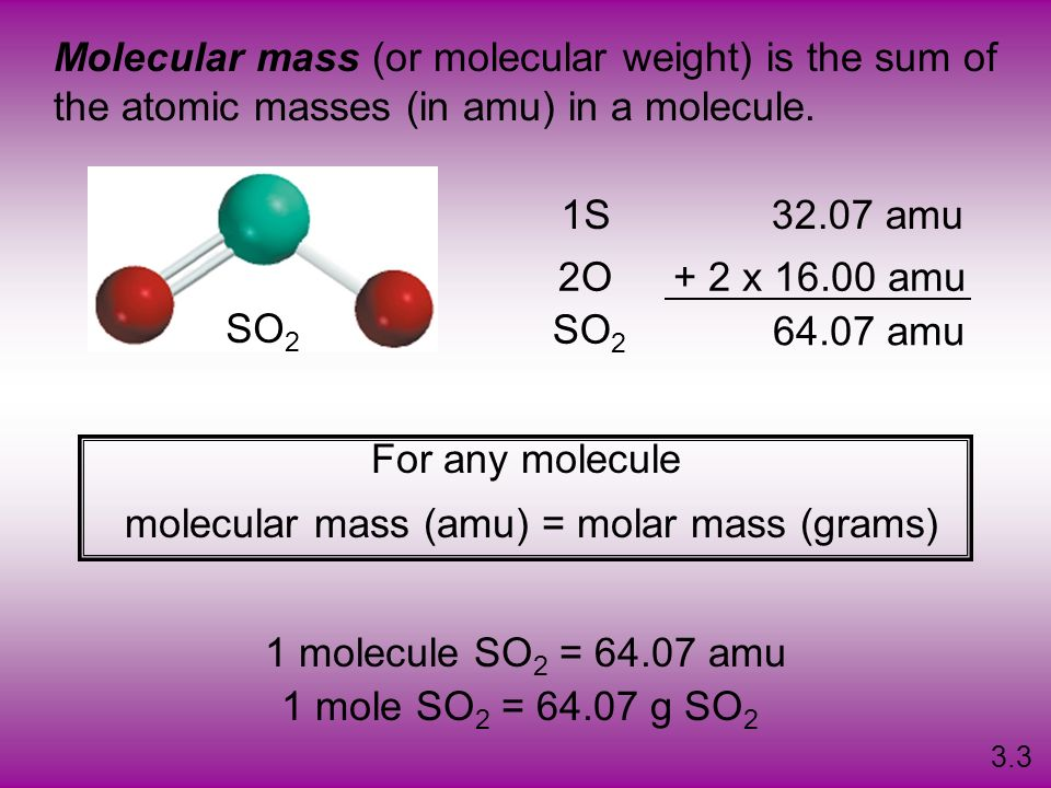 molecular mass (amu) = molar mass (grams)