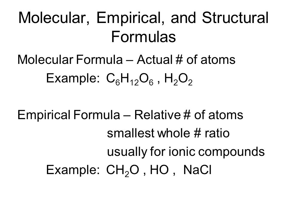 Molecular, Empirical, and Structural Formulas