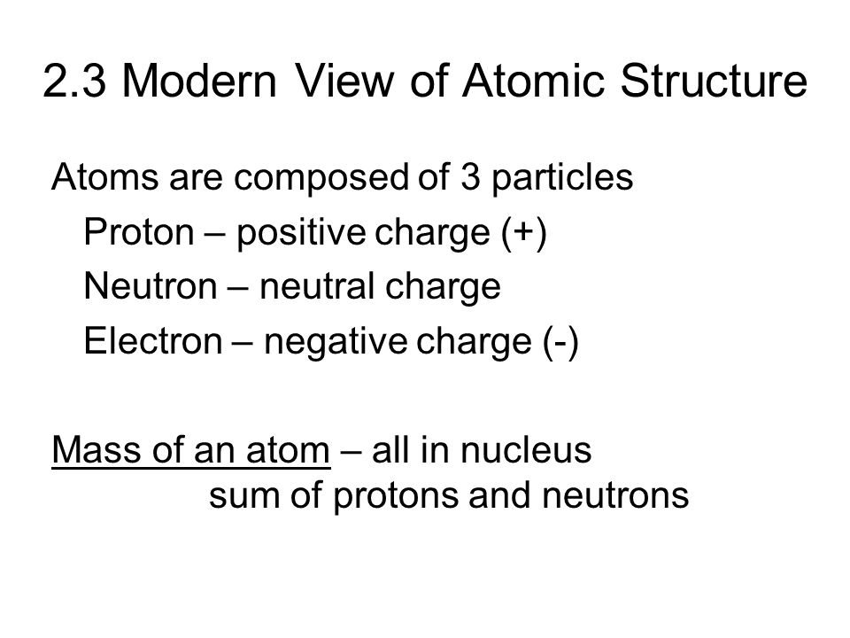 2.3 Modern View of Atomic Structure