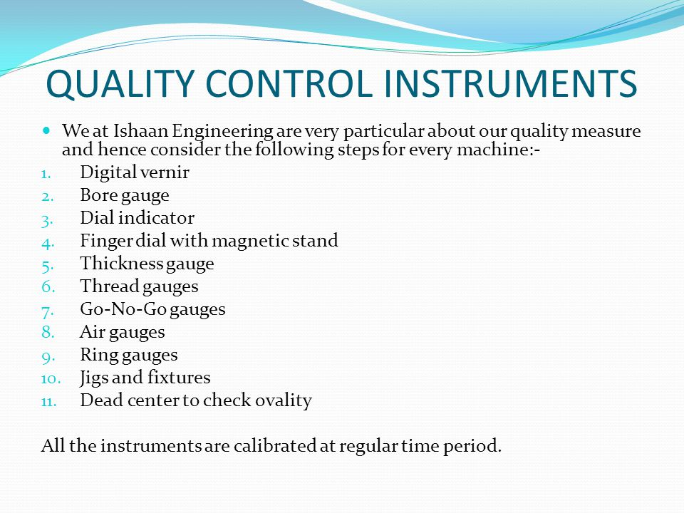 QUALITY CONTROL INSTRUMENTS