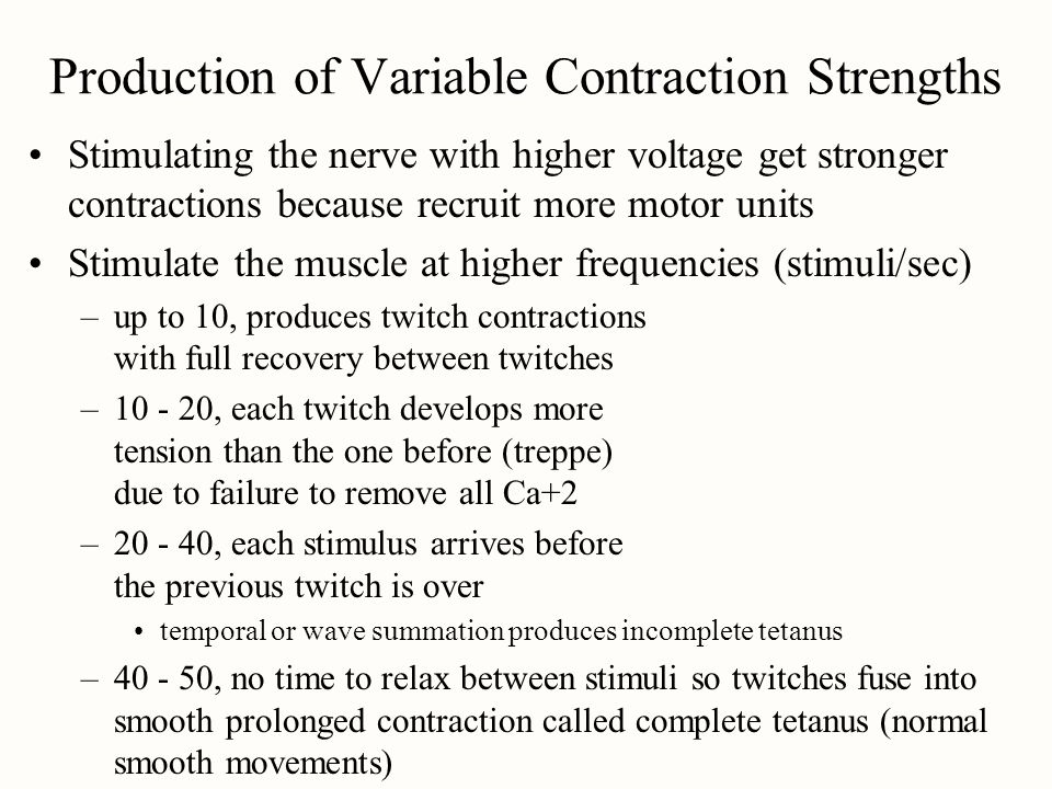 Production of Variable Contraction Strengths