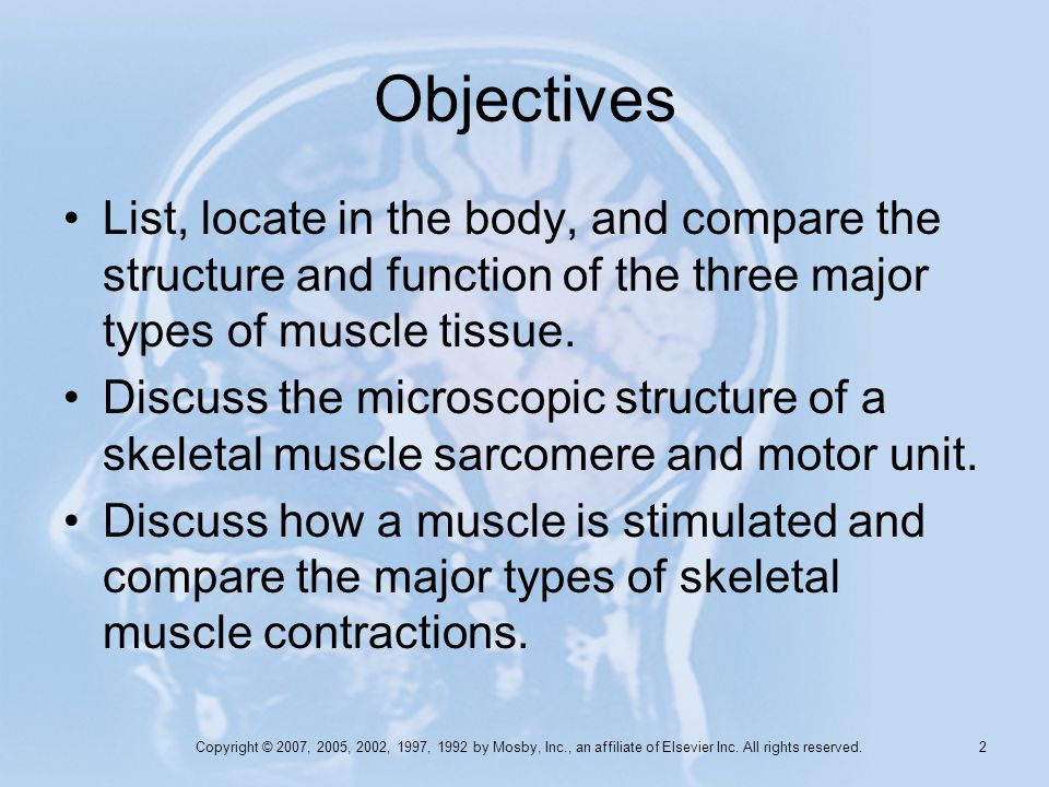 Objectives List, locate in the body, and compare the structure and function of the three major types of muscle tissue.