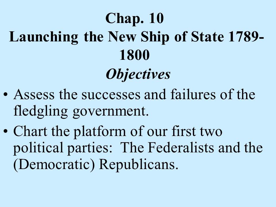 Chap. 10 Launching the New Ship of State 1789-1800