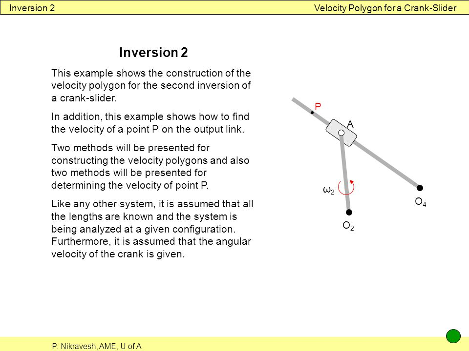 Inversion 2 Velocity Polygon for a Crank-Slider. Inversion 2.
