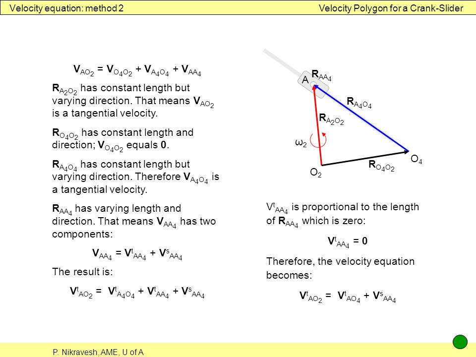 Velocity equation: method 2