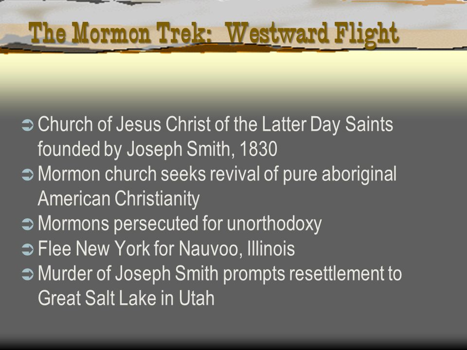 The Mormon Trek: Westward Flight