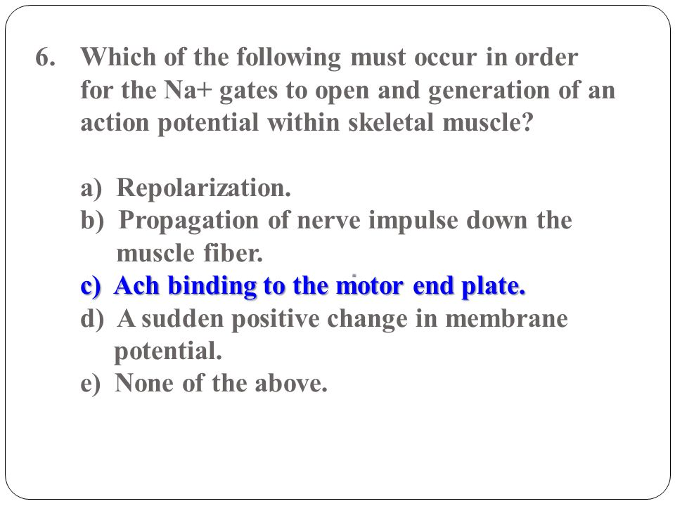 Which of the following must occur in order for the Na+ gates to open and generation of an action potential within skeletal muscle.