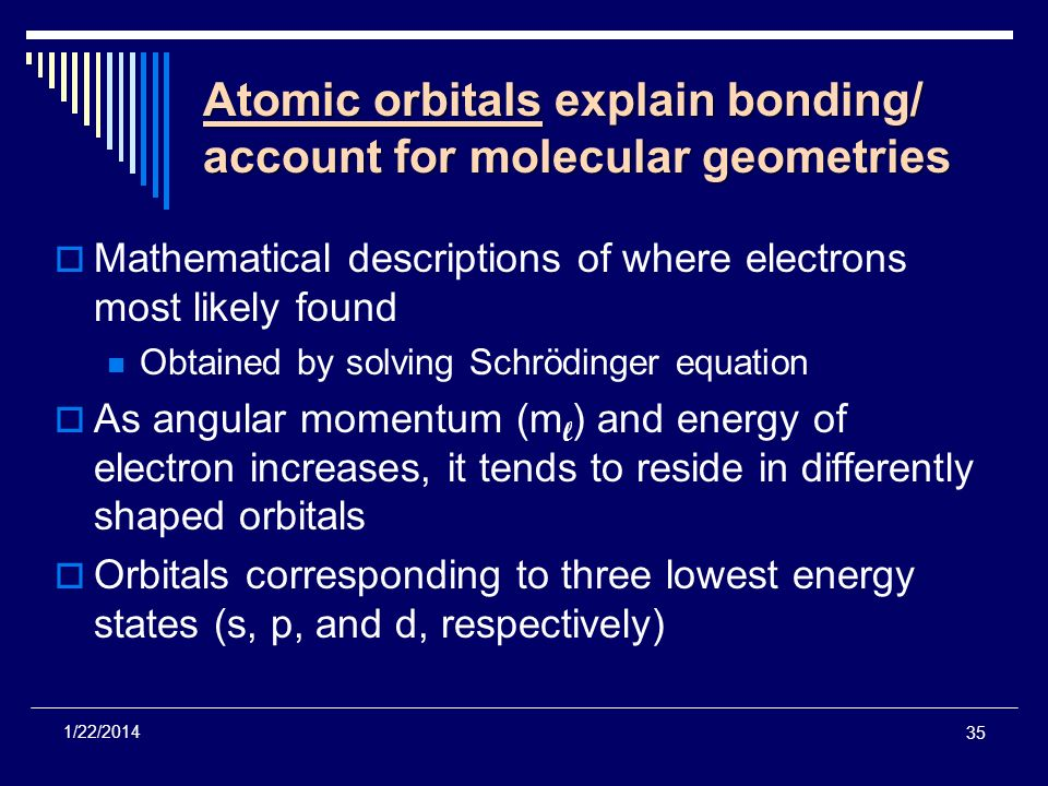 Atomic orbitals explain bonding/ account for molecular geometries