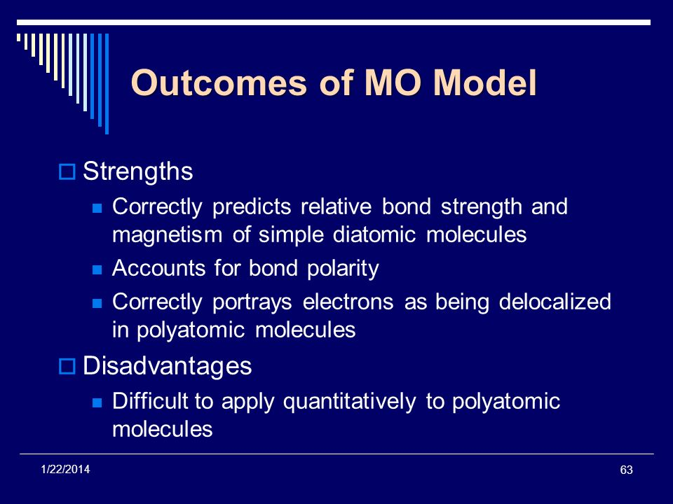 Outcomes of MO Model Strengths Disadvantages
