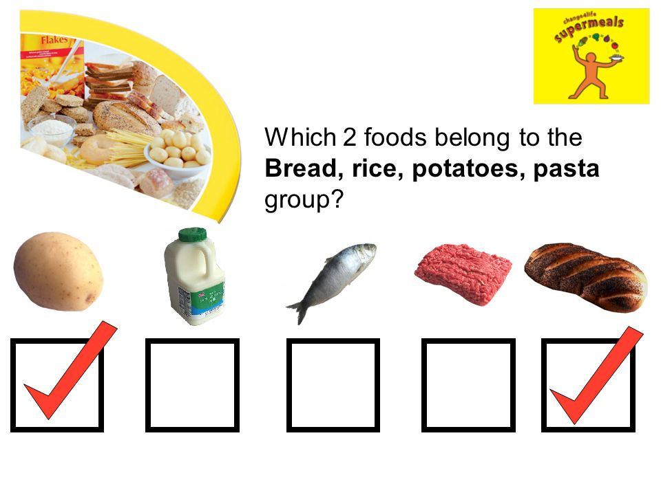 Which 2 foods belong to the Bread, rice, potatoes, pasta group