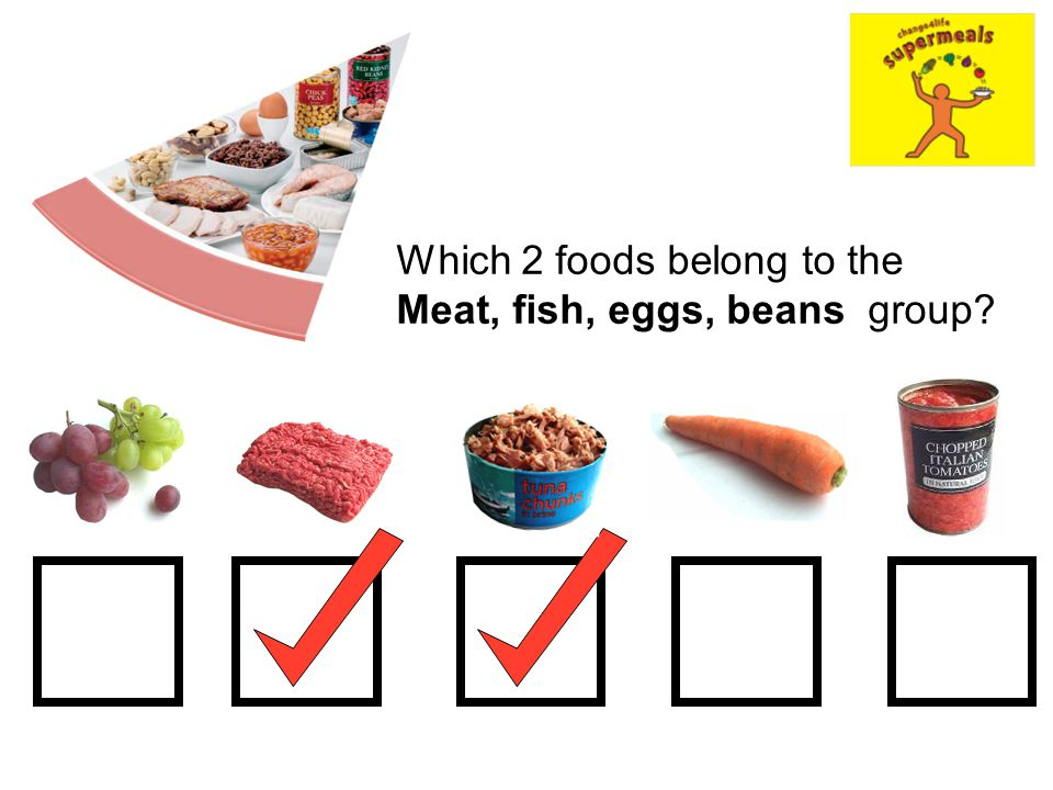 Which 2 foods belong to the Meat, fish, eggs, beans group