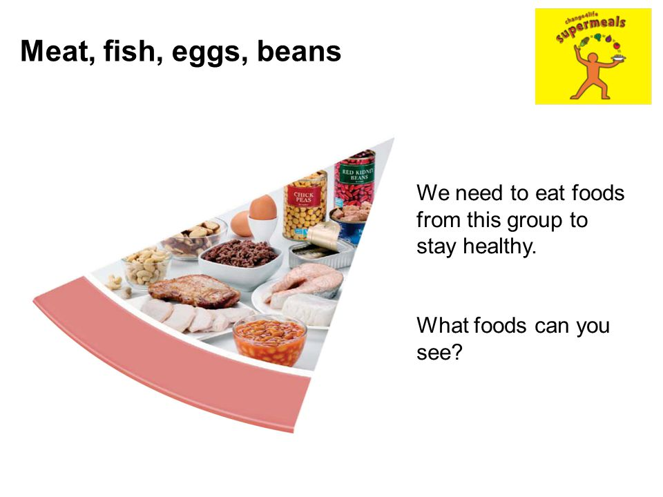 Meat, fish, eggs, beans We need to eat foods from this group to stay healthy.
