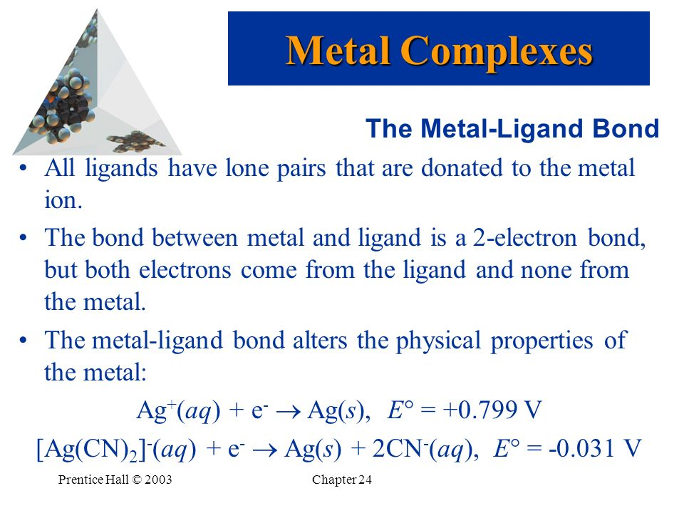 Metal Complexes The Metal-Ligand Bond