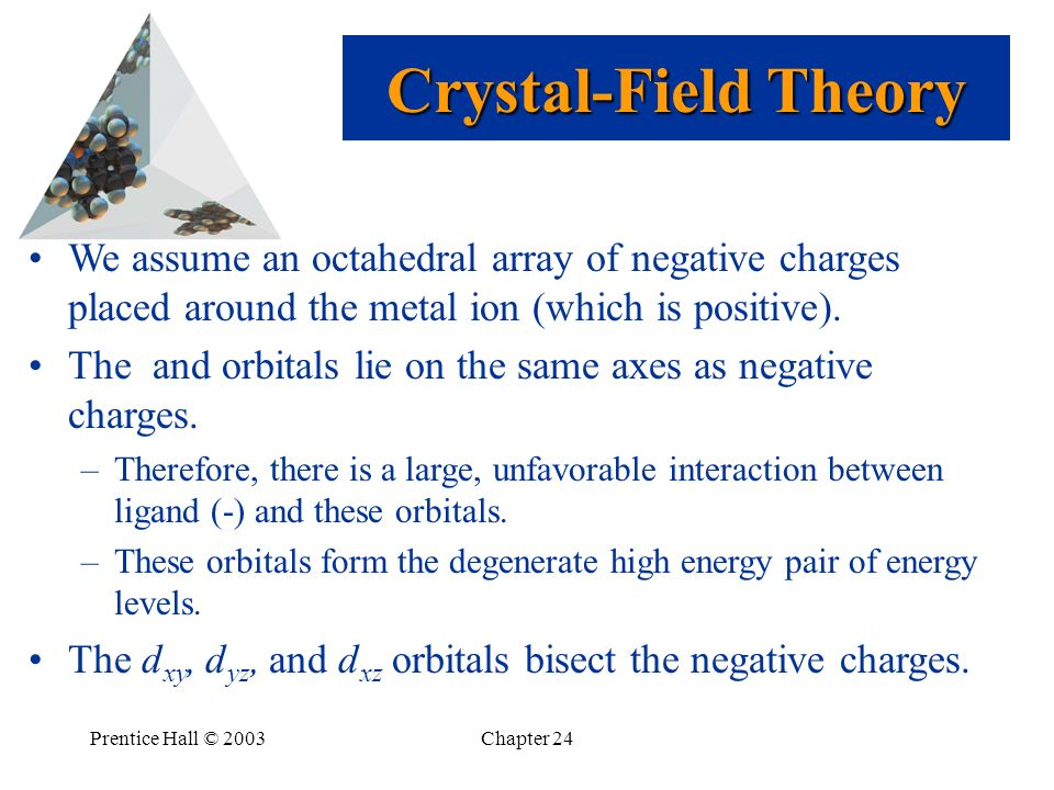 Crystal-Field Theory We assume an octahedral array of negative charges placed around the metal ion (which is positive).