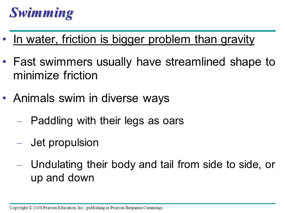 Swimming In water, friction is bigger problem than gravity