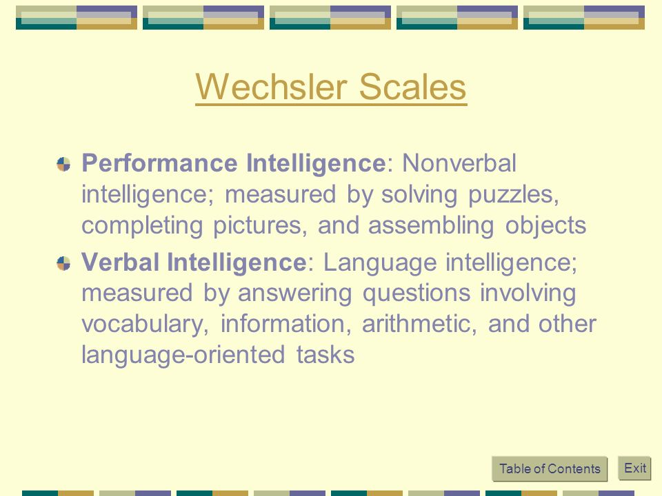 Wechsler Scales Performance Intelligence: Nonverbal intelligence; measured by solving puzzles, completing pictures, and assembling objects.