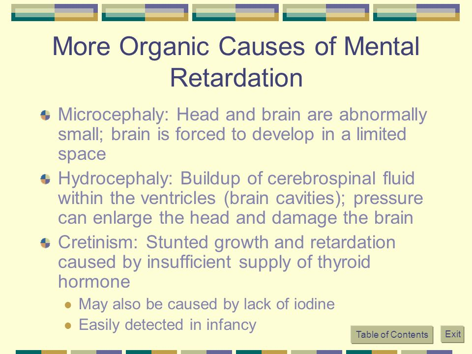 More Organic Causes of Mental Retardation