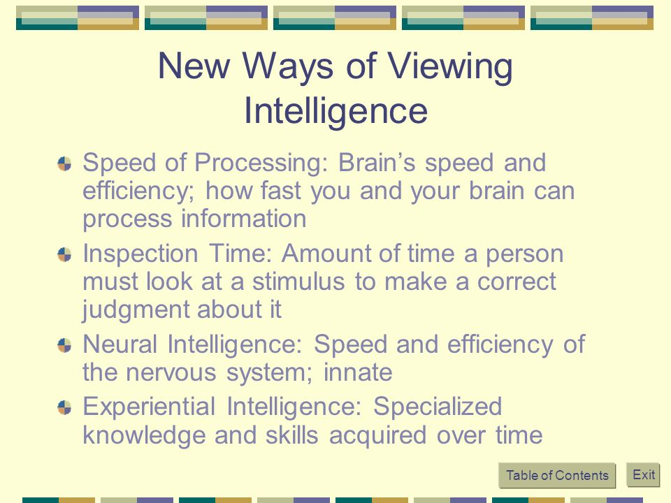 New Ways of Viewing Intelligence