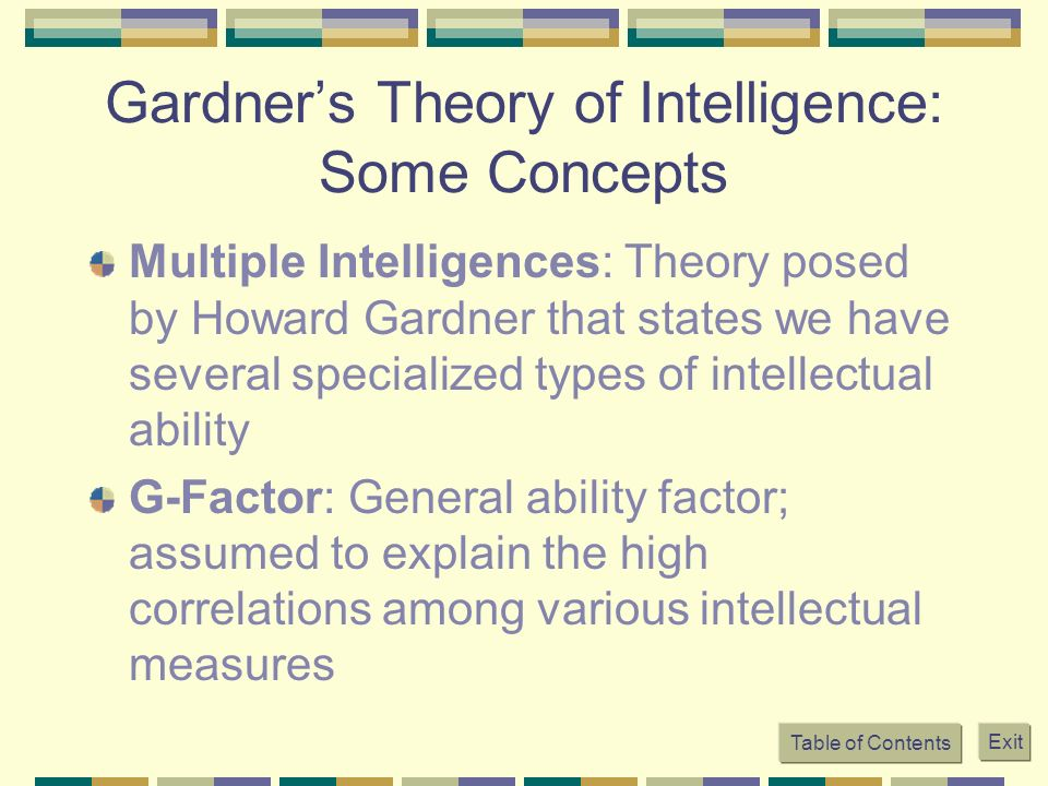 Gardner's Theory of Intelligence: Some Concepts