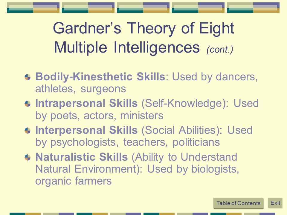 Gardner's Theory of Eight Multiple Intelligences (cont.)