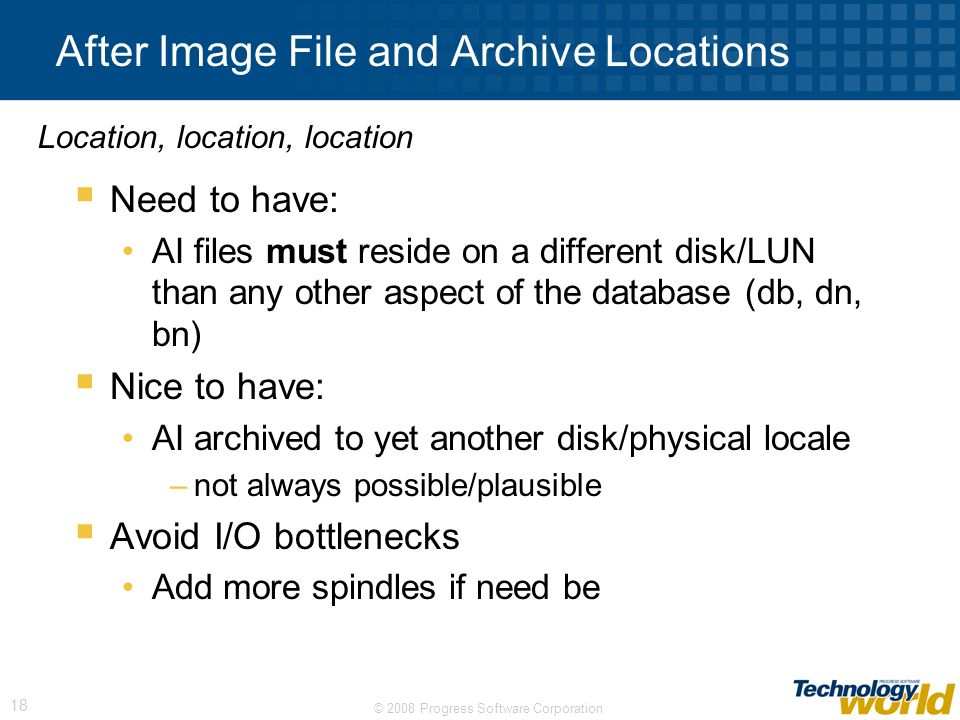 After Image File and Archive Locations