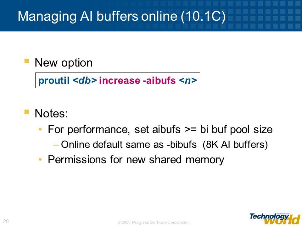 Managing AI buffers online (10.1C)