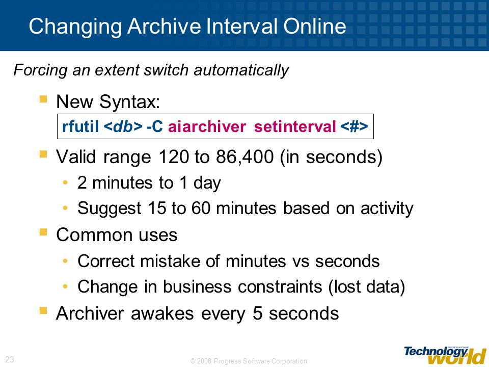 Changing Archive Interval Online