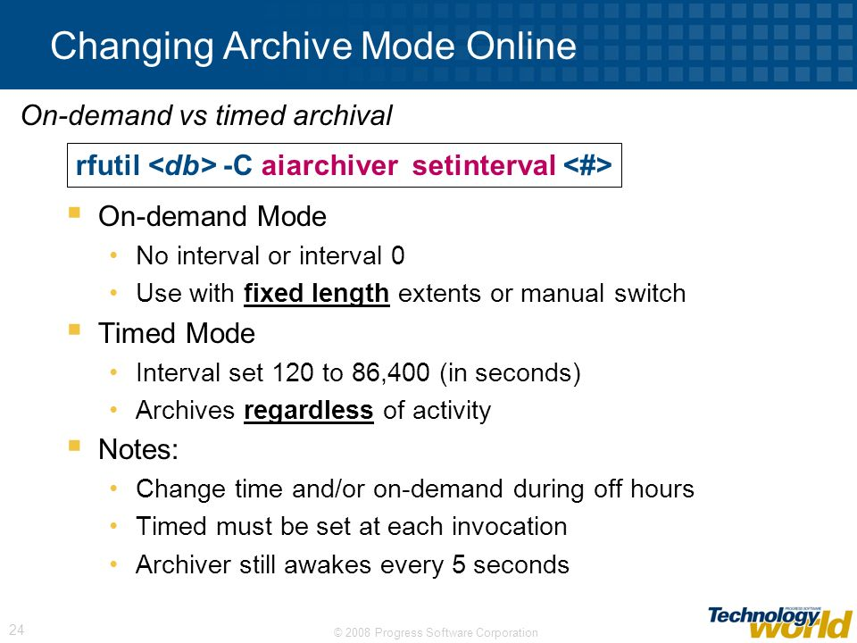 Changing Archive Mode Online