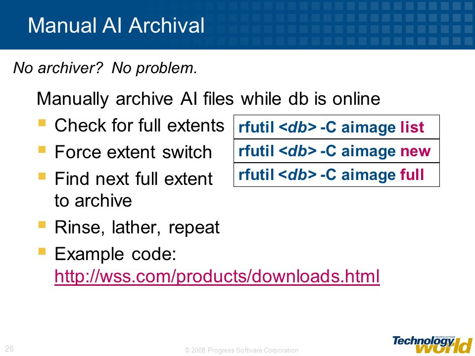 Manual AI Archival Manually archive AI files while db is online
