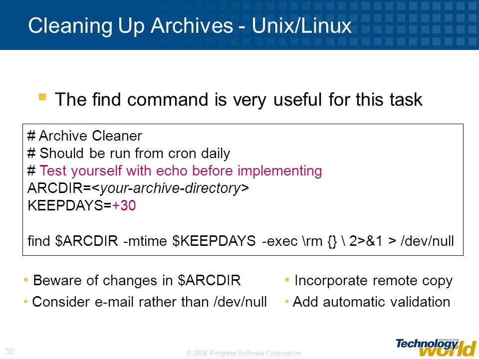Cleaning Up Archives - Unix/Linux