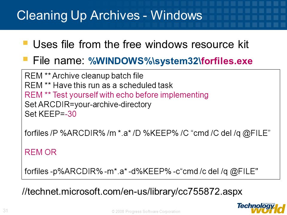Cleaning Up Archives - Windows
