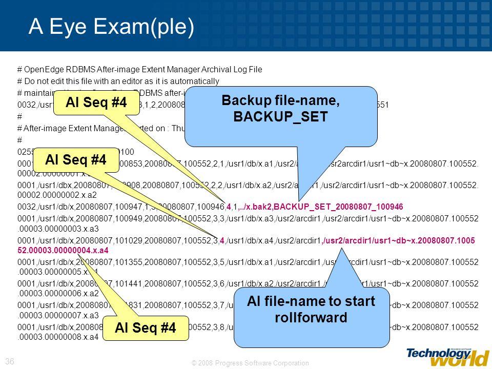 Backup file-name, BACKUP_SET AI file-name to start rollforward