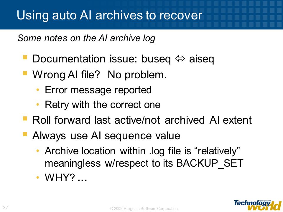 Using auto AI archives to recover