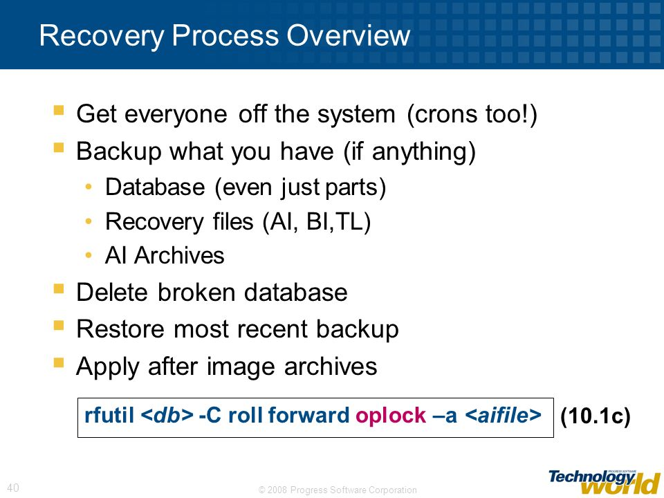 Recovery Process Overview