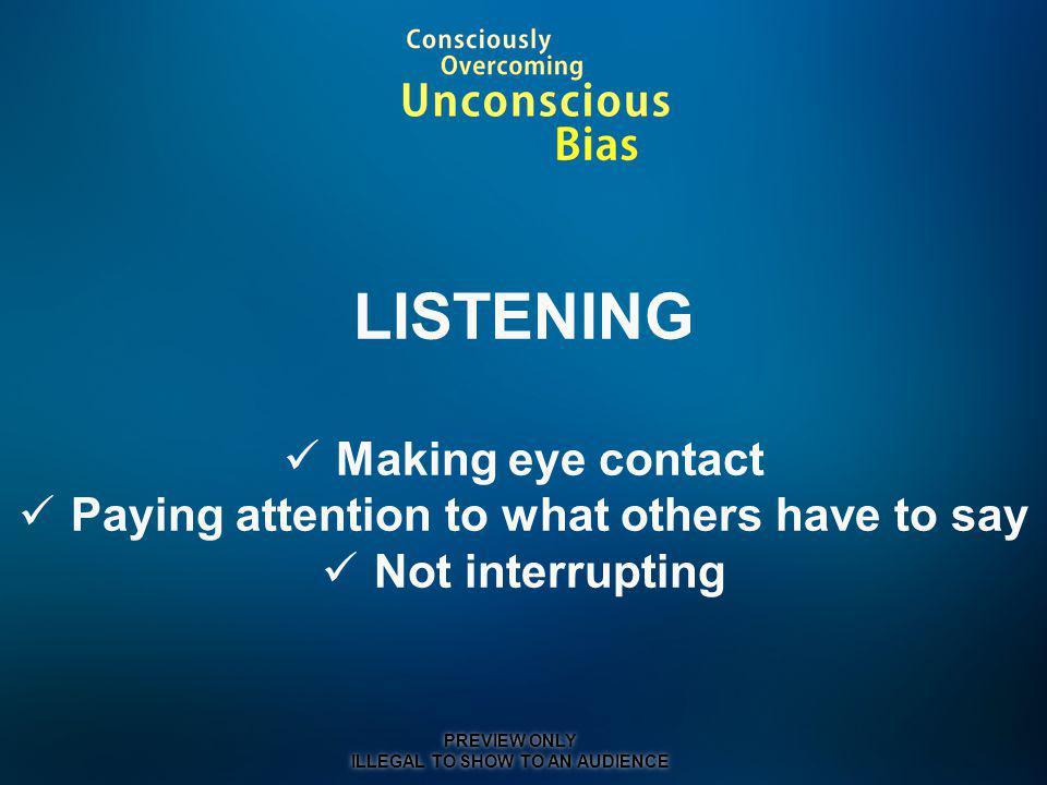 LISTENING Making eye contact