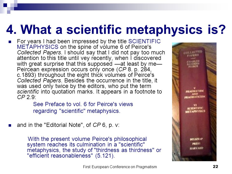 4. What a scientific metaphysics is