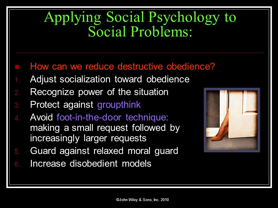 Applying Social Psychology to Social Problems: