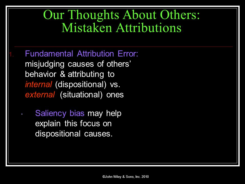 Our Thoughts About Others: Mistaken Attributions