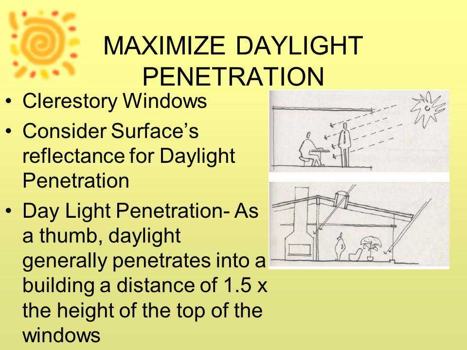 MAXIMIZE DAYLIGHT PENETRATION