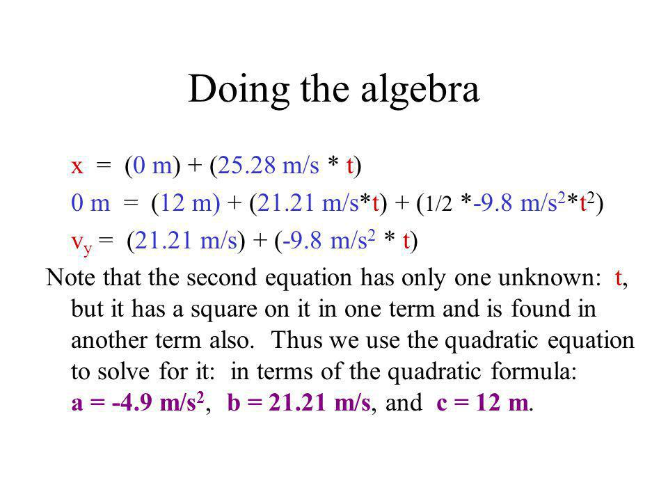 Doing the algebra x = (0 m) + (25.28 m/s * t)