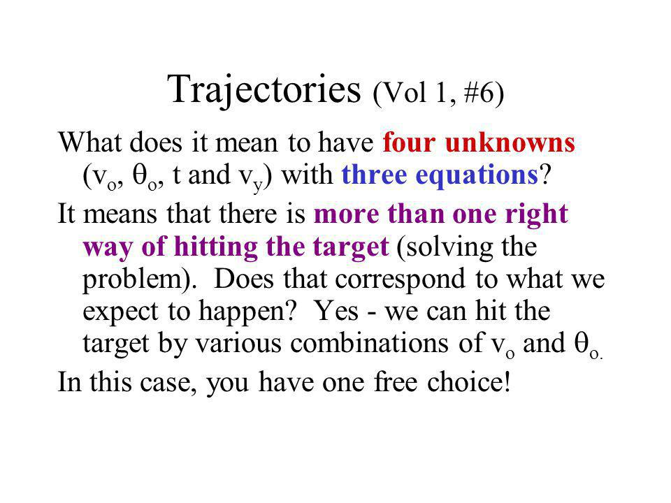 Trajectories (Vol 1, #6) What does it mean to have four unknowns (vo, qo, t and vy) with three equations