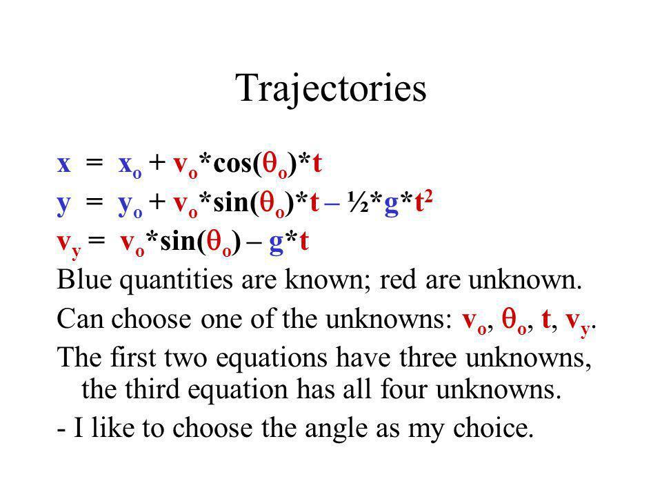 Trajectories x = xo + vo*cos(qo)*t y = yo + vo*sin(qo)*t – ½*g*t2