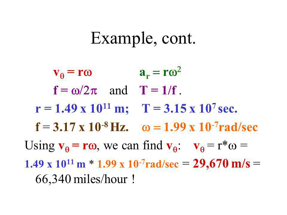 Example, cont. vq = rw ar = rw2 f = w/2p and T = 1/f .