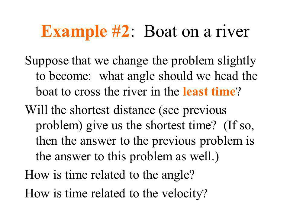 Example #2: Boat on a river